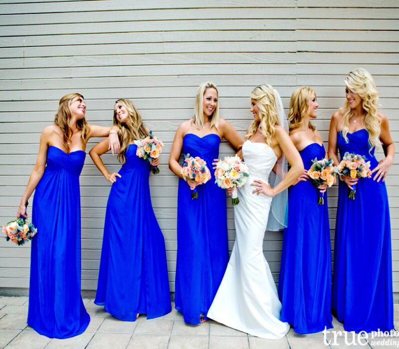2016 Hot Royal Blue Bridesmaids Dresses Sweetheart Chiffon Floor