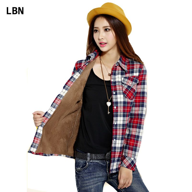 New Brand Clothing Winter Tops Women Thick Warm Cashmere Flannel