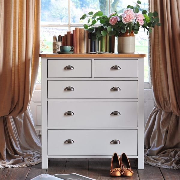 Portland Grey 2 Over 3 Chest of Drawers - The Cotswold Company