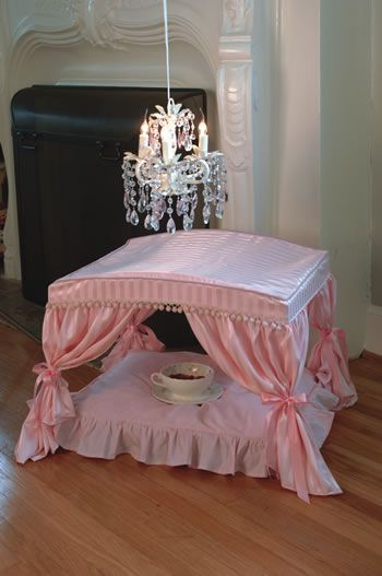 My Dogs Are To Spoiled To Not Sleep In The Bed With Us But I Can Dream Right Fancy Dog Beds Dog Canopy Bed Pink Bedding