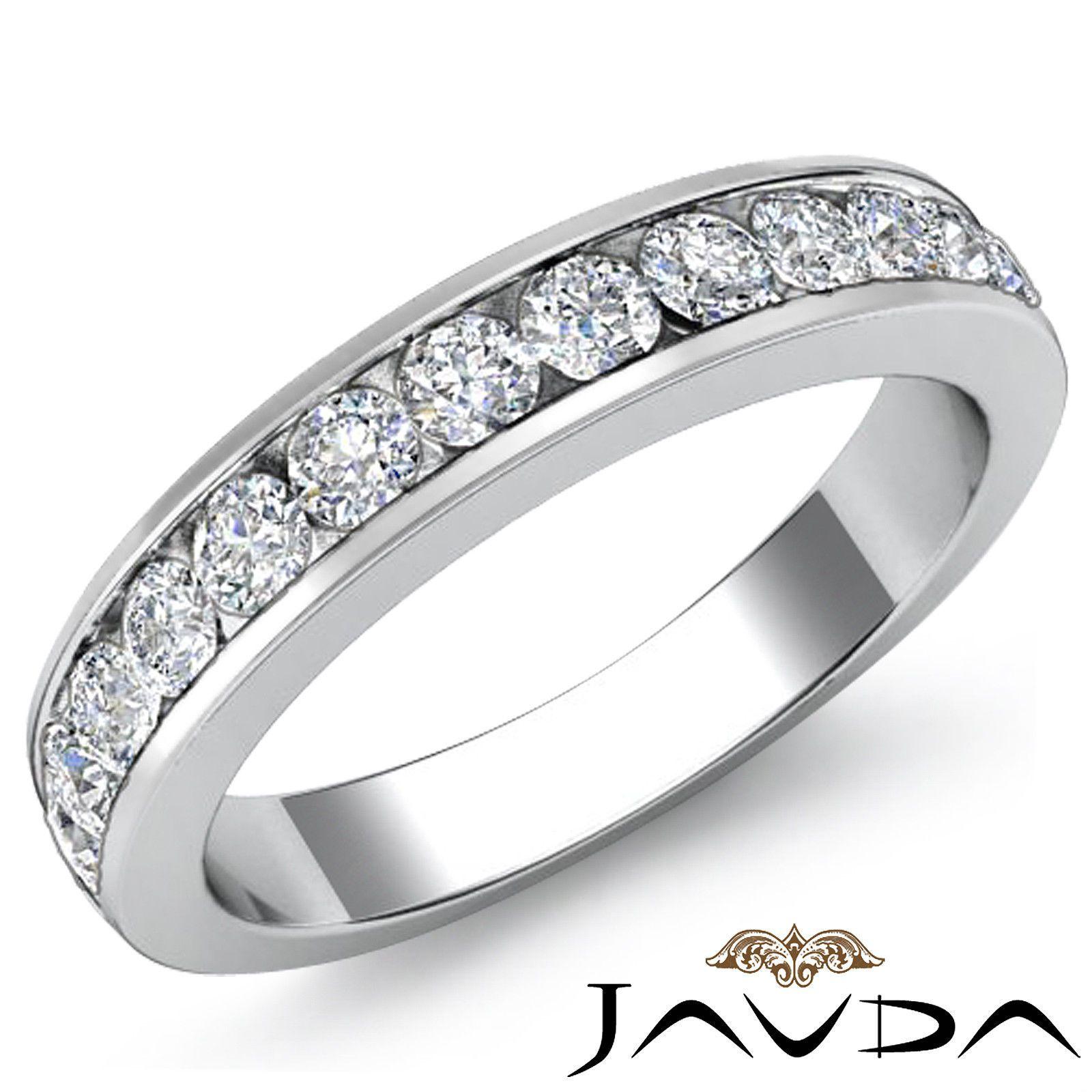 Womens Half Wedding Band Channel Set Diamond 2.75mm Ring