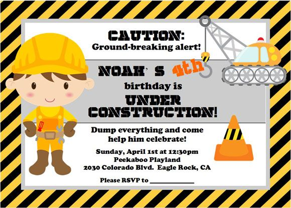 cute invite idea for a boy's construction party! | party planning, Party invitations