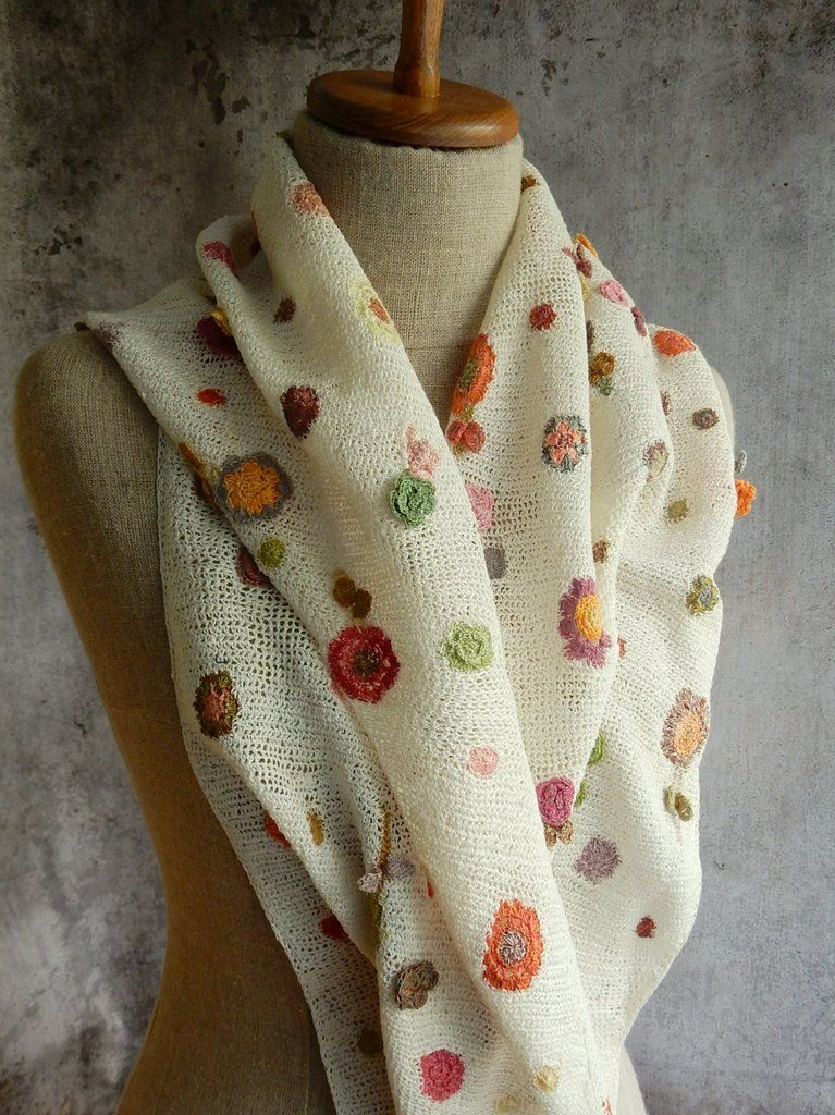 12x50\', hand crocheted linen scarf. Semi-open crochet sprinkled with ...