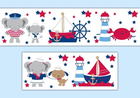Nautical Nursery Wallpaper Border for baby boy sail boat
