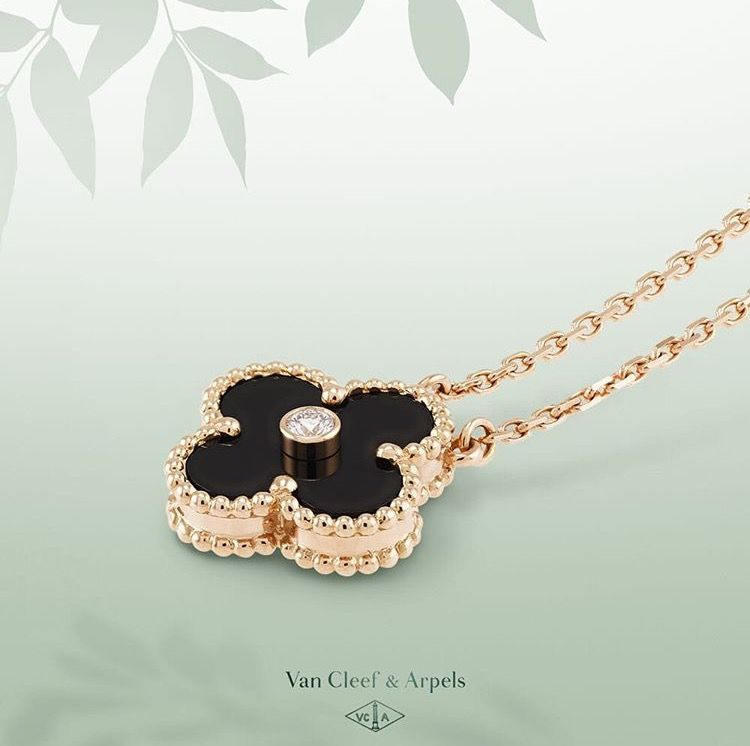 c51eb08066a0 Van Cleef   Arpel limited edition onyx and pink gold Vintage Alhambra  pendant - a brilliant-cut diamond embellishes the center of the renowned  Alhambra ...