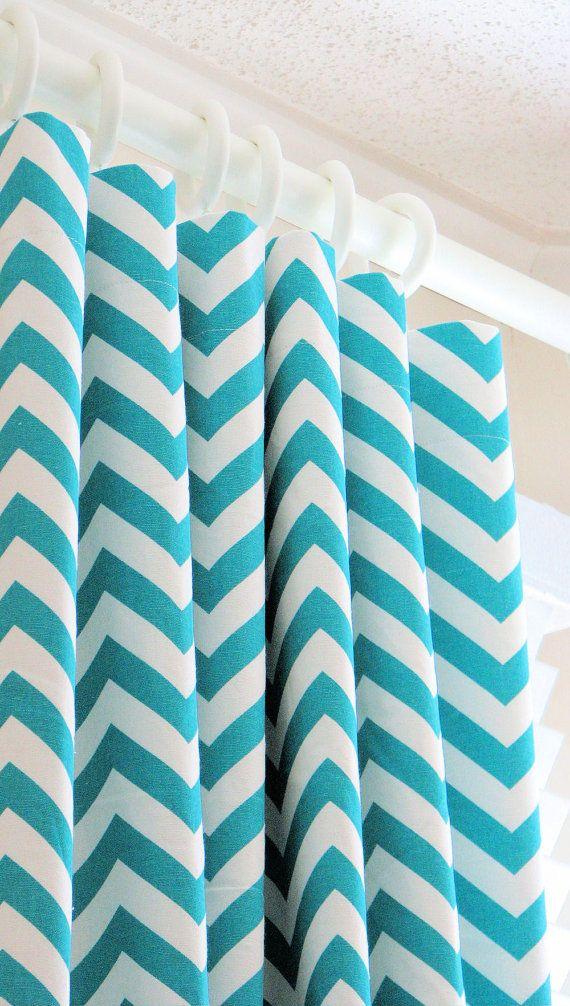 Turquoise chevron curtains Babiespiration Pinterest Cortinas - cortinas azules