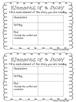 Graphic Organizer For Elements Of A Story Education Pinterest