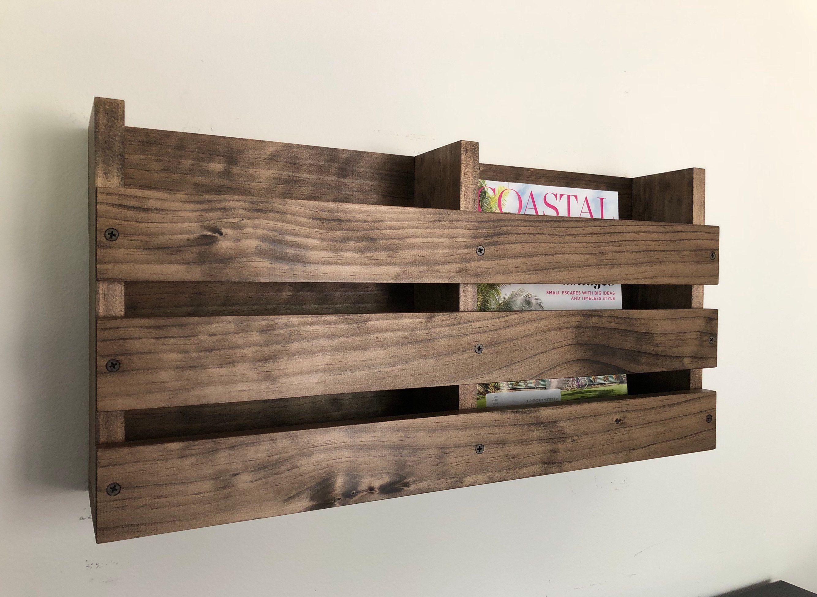 Double Magazine Wood Rack Wall Mounted Menu Holder Rustic Wood