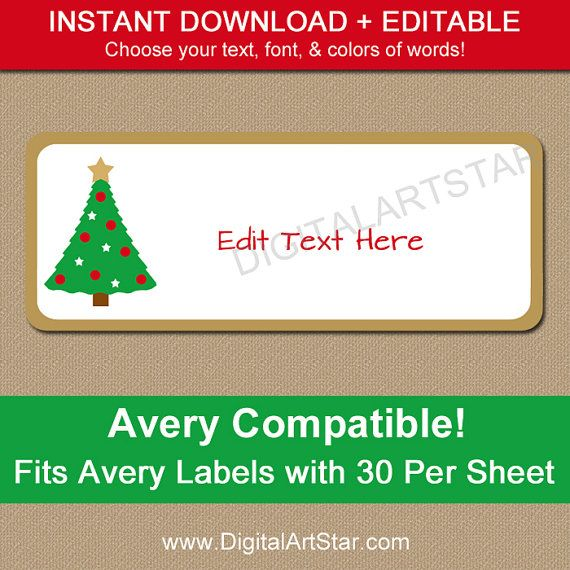 Christmas Tree Address Labels  Return Address Address Label