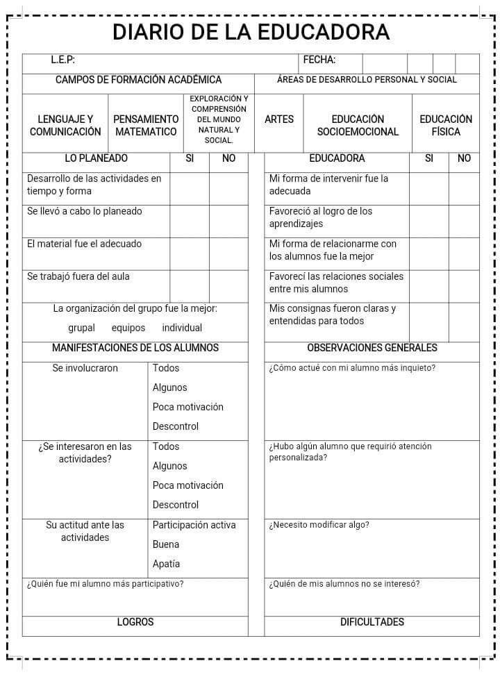 Diario Instrumentos De Evaluacion Preescolar Evaluacion Docente Bitacora Escolar