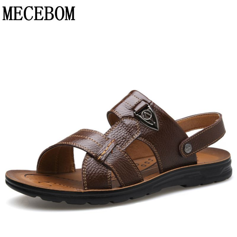 Large sizes 50 men summer sandals genuine leather casual