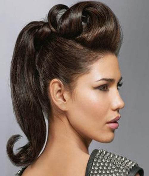 Styled Pompadour In A Ponytail Via The Hairstylist Com Pompadour Ponytail Hairstyle Long Hair Styles Pompadour Hairstyle Medium Hair Styles