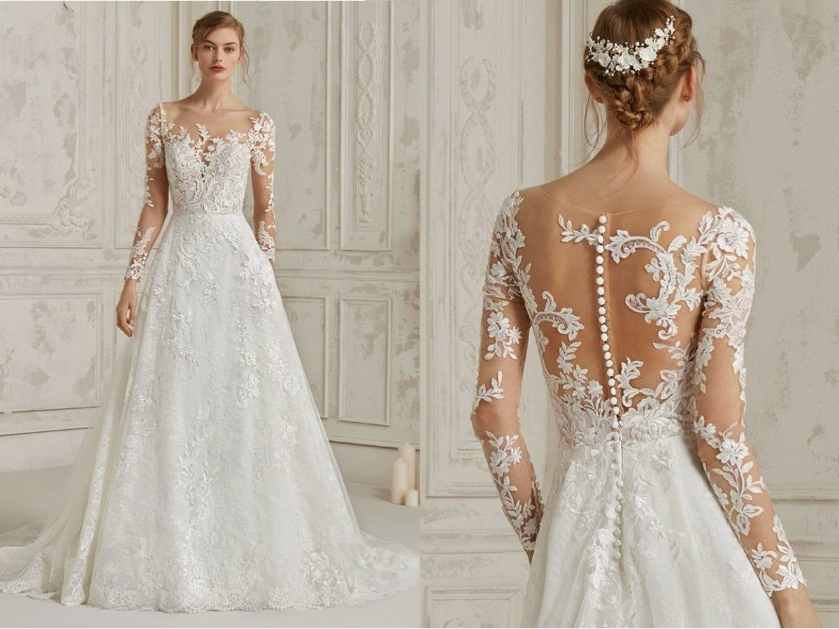 Pronovias This Romantic A Line Wedding Dress Features Cascades
