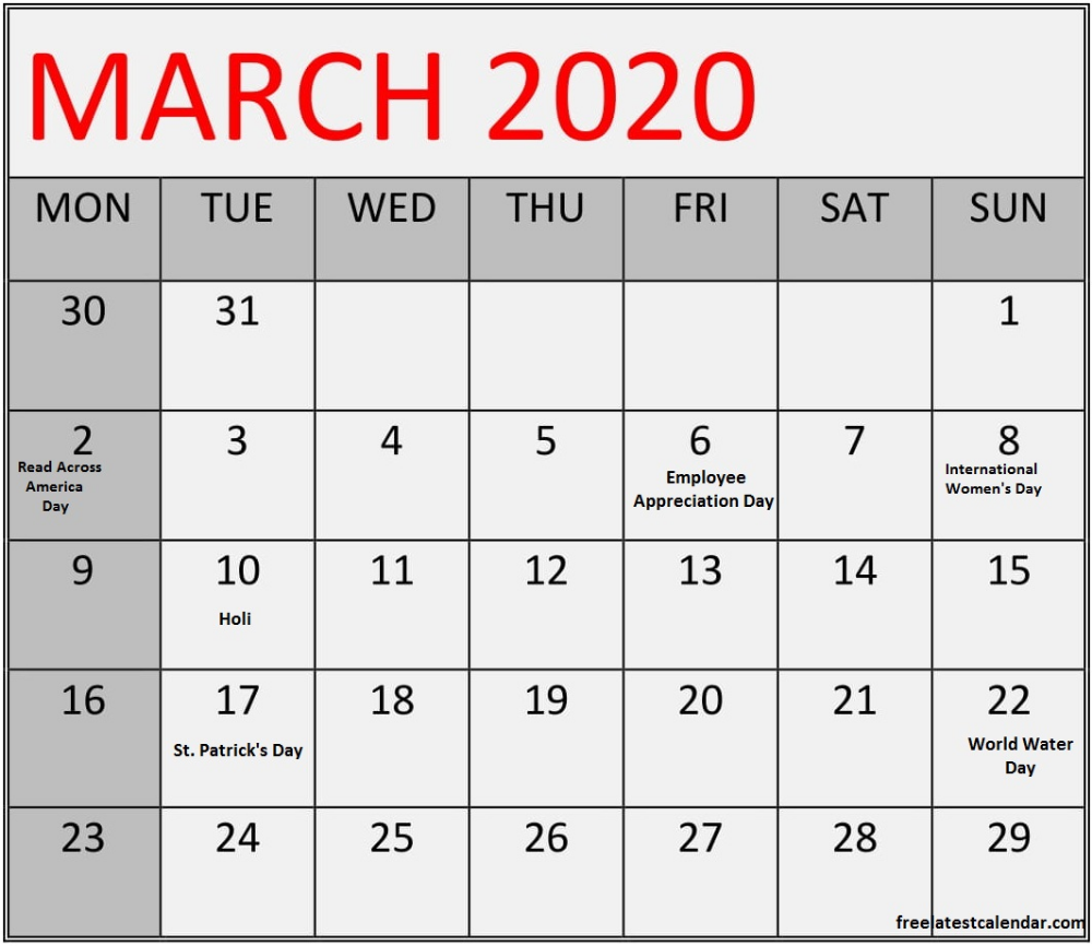 March 2020 Calendar With Federal Holidays Table In 2020