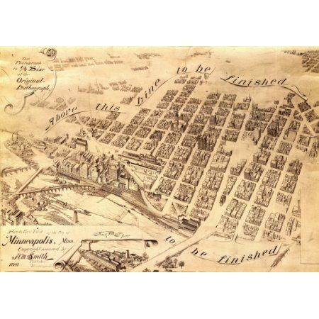 Antique Map of Minneapolis Minnesota 1891 Hennepin County Canvas Art     Antique Map of Minneapolis Minnesota 1891 Hennepin County Canvas Art    36  x 54