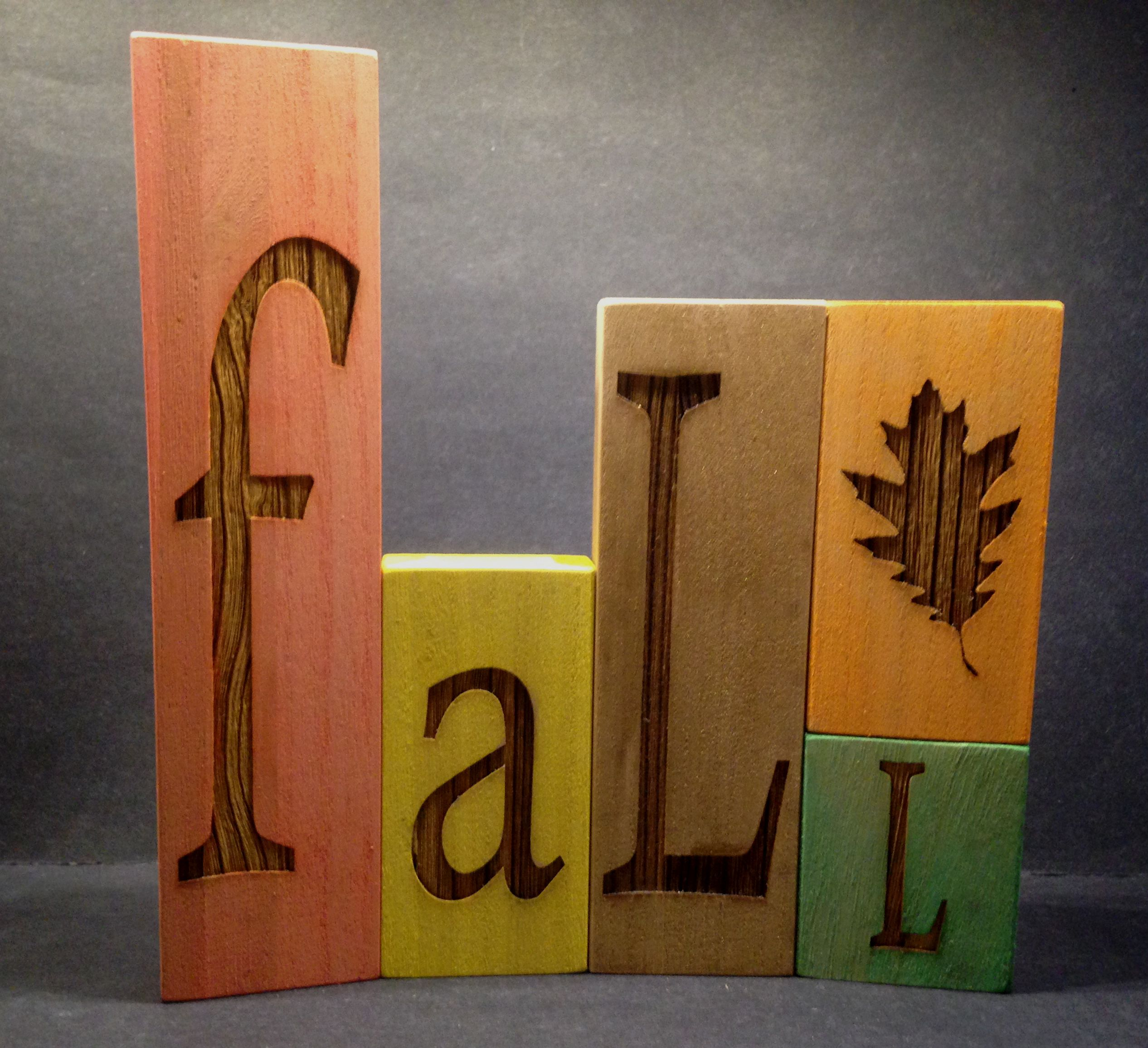 Need decoration for Thanksgiving table? How about engraved wood blocks.