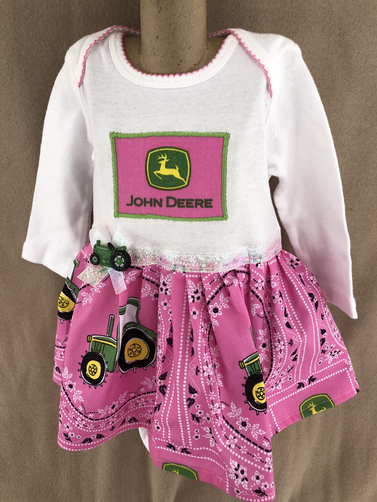f56810b0b Excited to share the latest addition to my #etsy shop: girls 3-6 months  John Deere onesie dress/ pink John Deere/ infant onesie dress/ girls  clothing