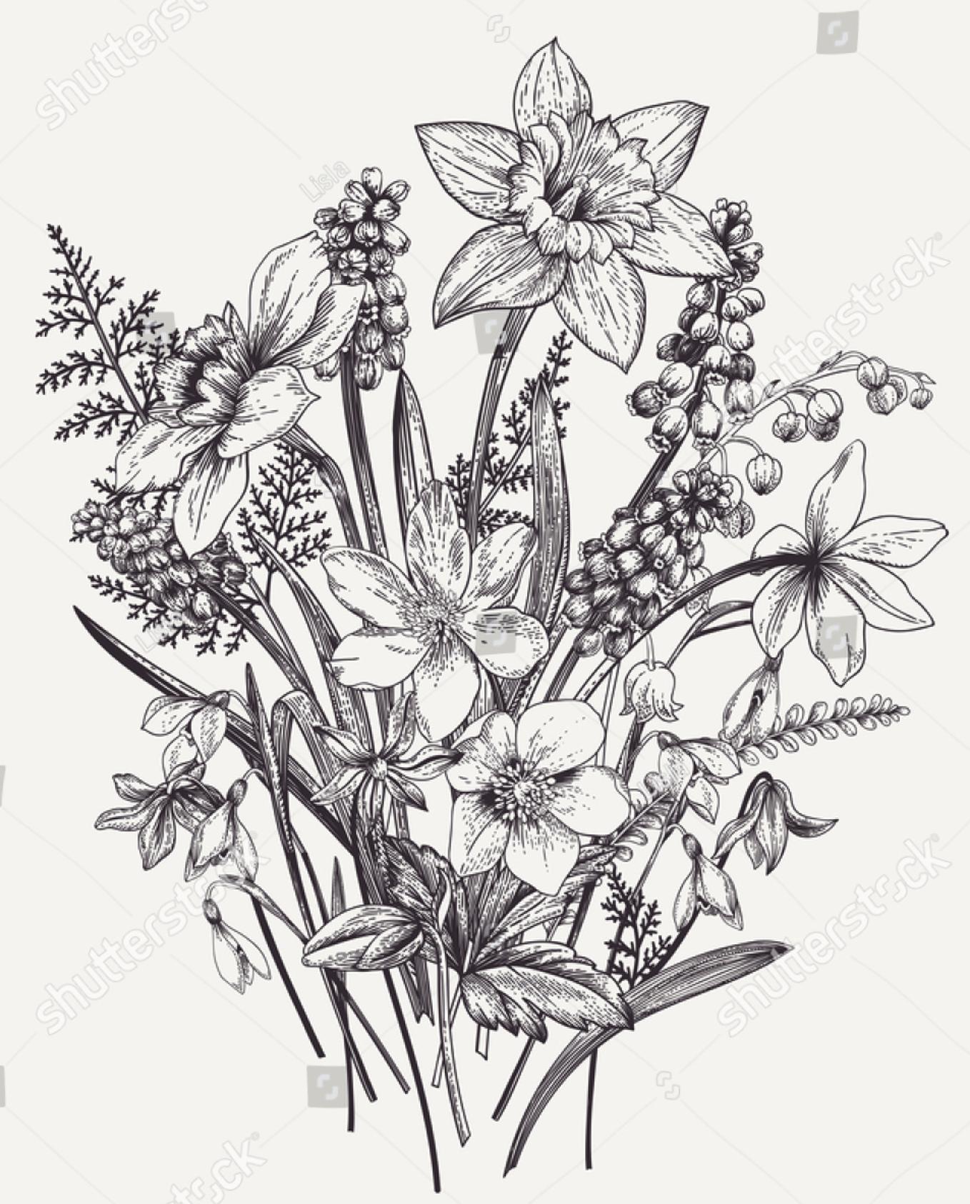 Lilieae bouquet Тату с полевым цветком, Рисунки цветов