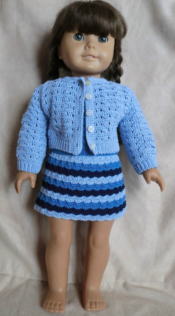 225 Shades of Blue Outfit - Crochet Pattern for American Girl Dolls ...