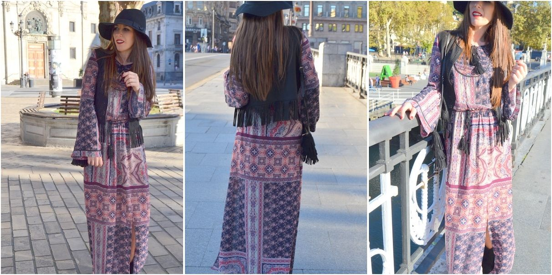 Cómo combinar un vestido largo bohemio