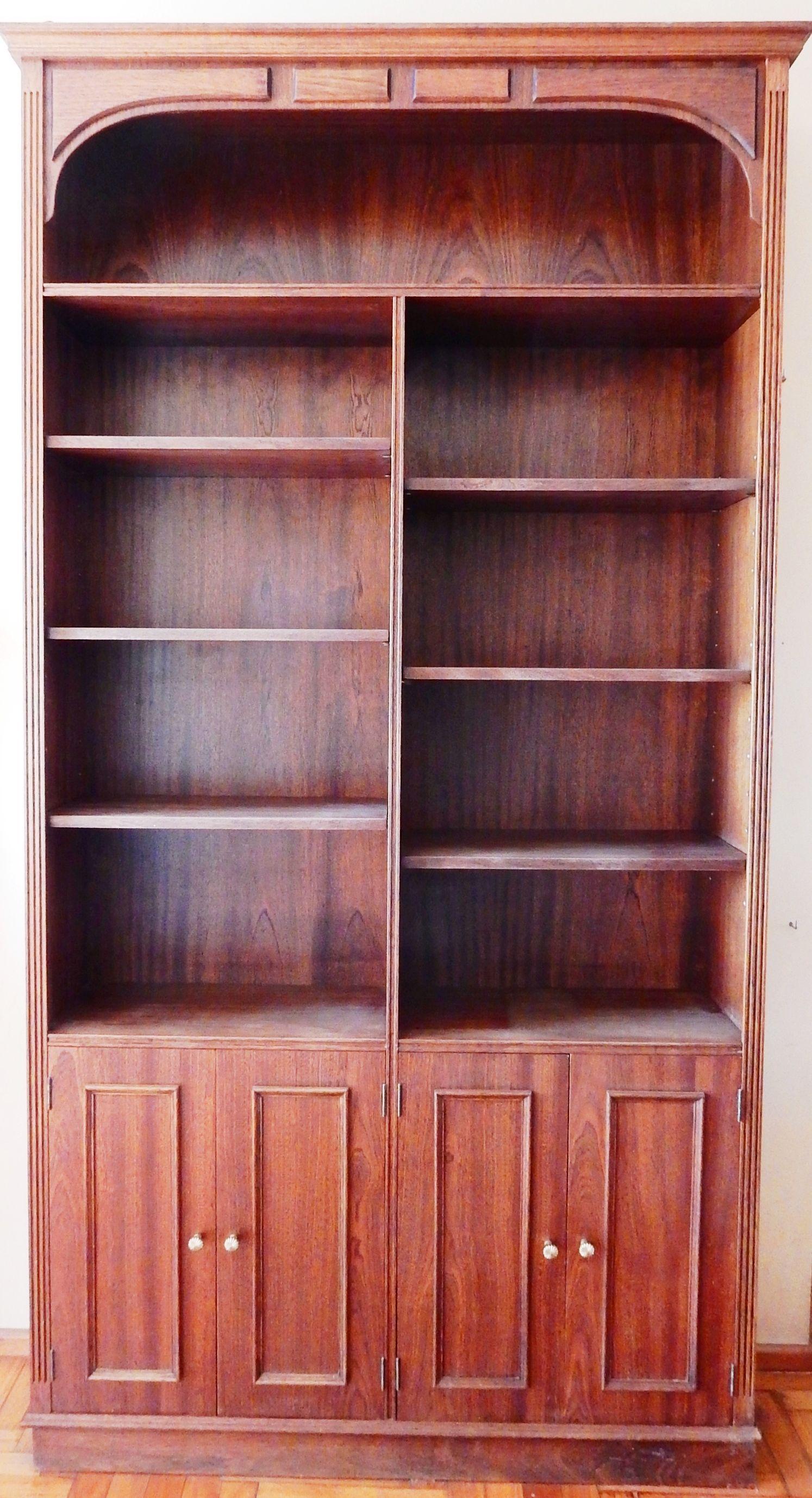 Impresionante Biblioteca Estilo Ingles Madera De Cedro Molduras