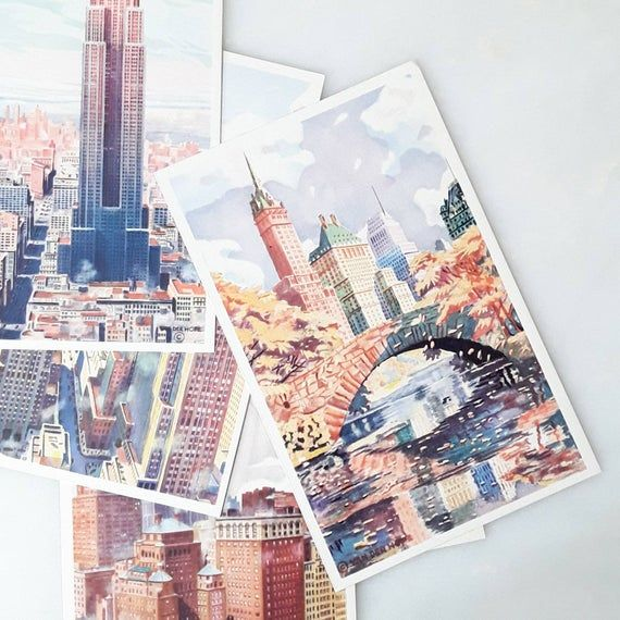 Vintage Postcard, New York City, Autumn in Central Park, Van Der Hope, Watercolor, RCA, International, Souvenir, 1930s-40s #autumninnewyork