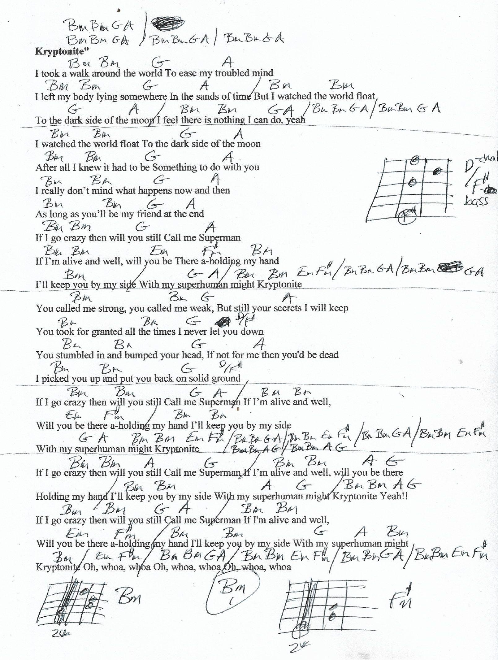 Kryptonite 15 Doors Down Guitar Chord Chart in Bm REAL KEY ...