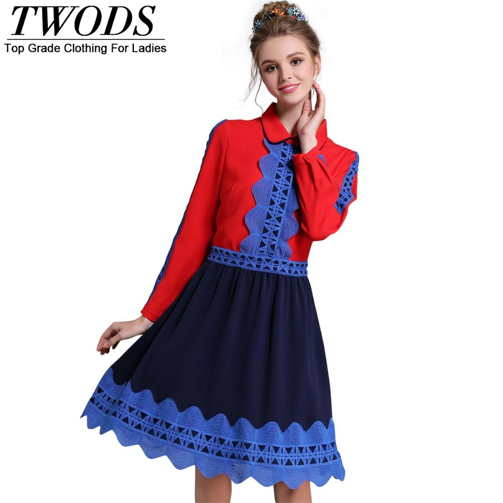 L xl front crochet wave detail autumn flare dress red and blue
