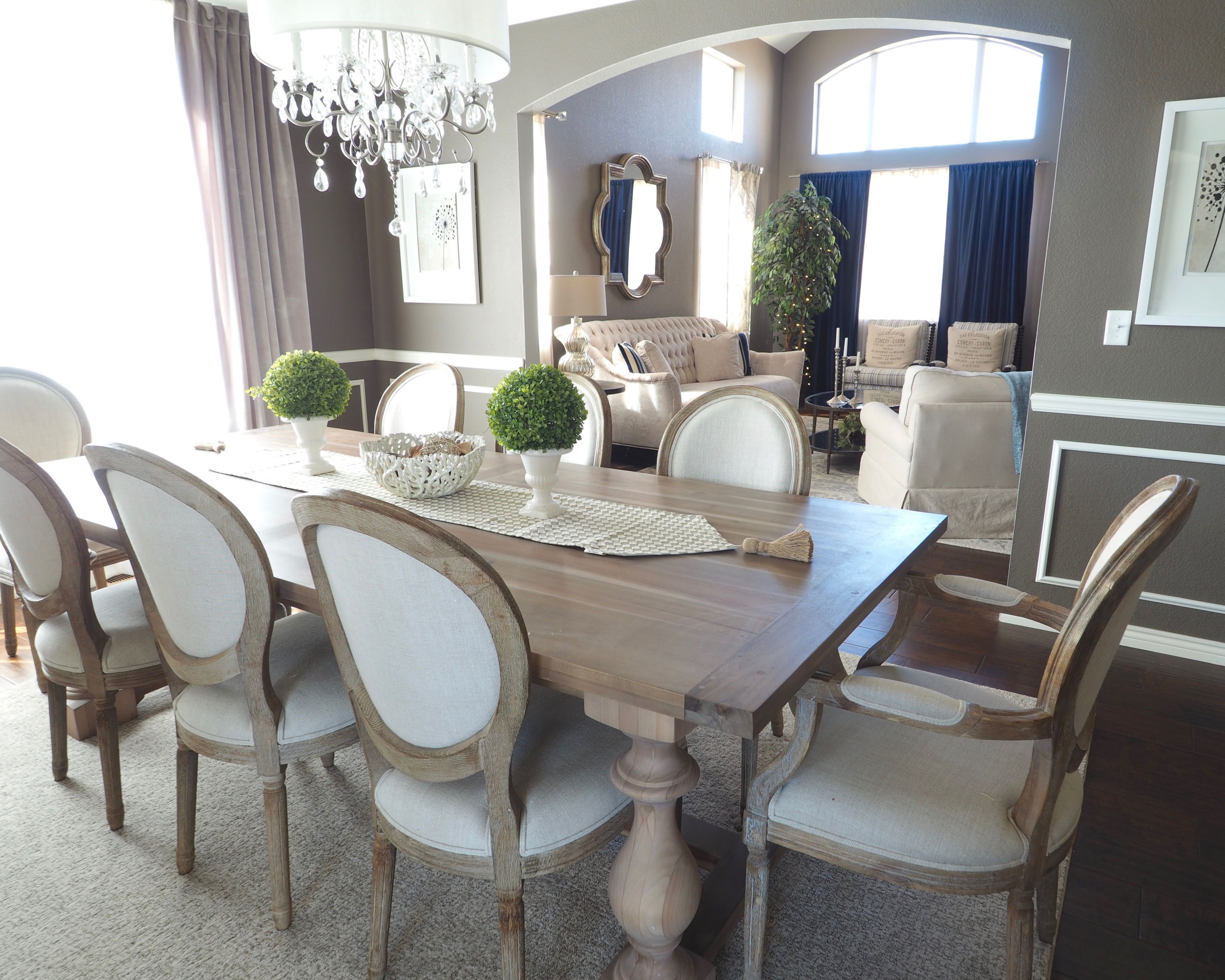 Vintage Dining Room Chairs Leather Sling Glam Rustic Wainscoting Diy Velvet Curtains Gray Monochromatic Restoration