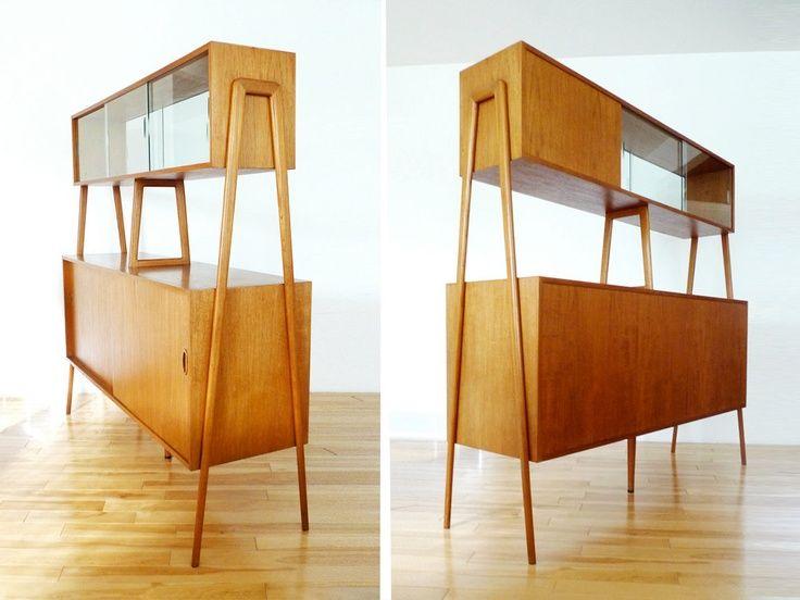 Credenza De Madera Moderna : Retro teak mid century modern hutch credenza buffet design