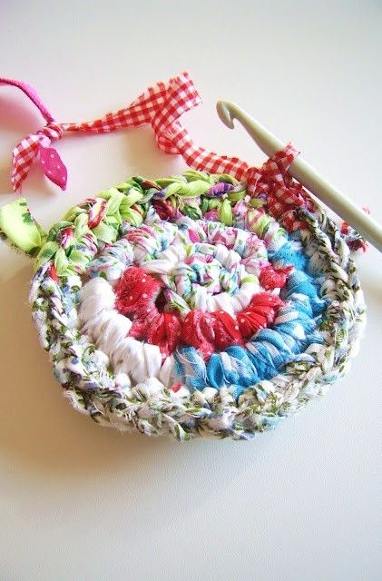 Diy Crochet With Fabric Rag Rug All Of Mine Start Out This Way Crochet Vase Crochet Crafts Crochet Fabric