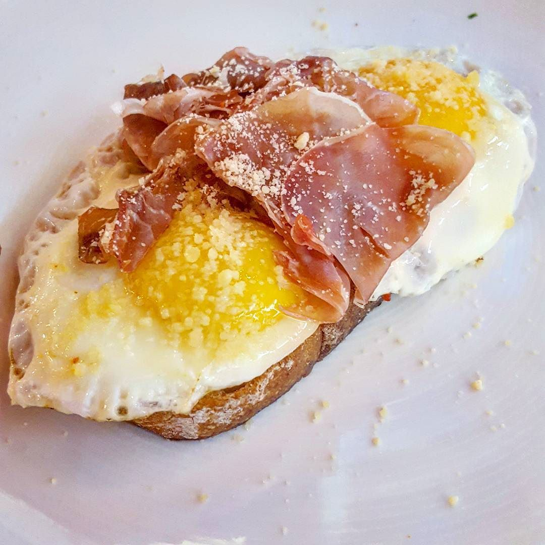 Country Ham And Scrambled Eggs: Fried Eggs Prosciutto And Parmesan On Country Bread