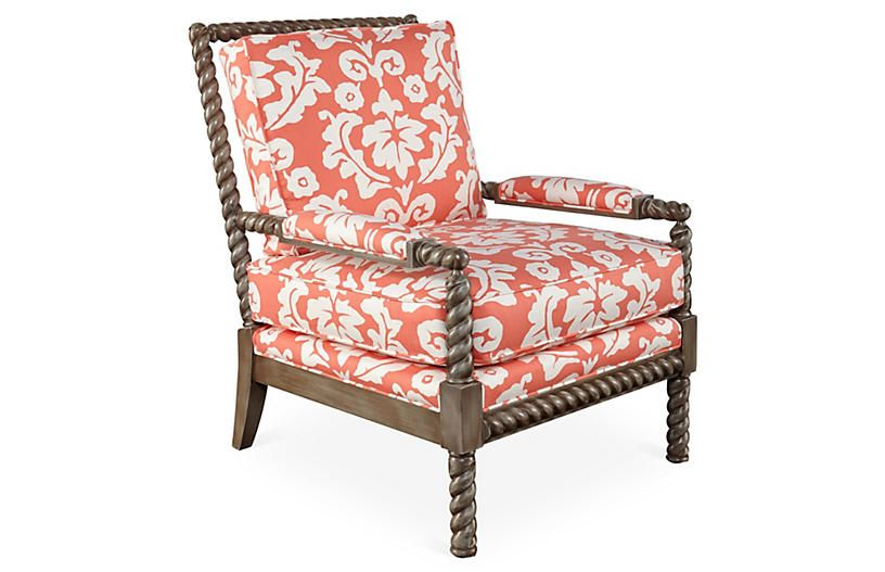 Dana Gibson Parthie Chair - Coral | Coral accents, Living room ...