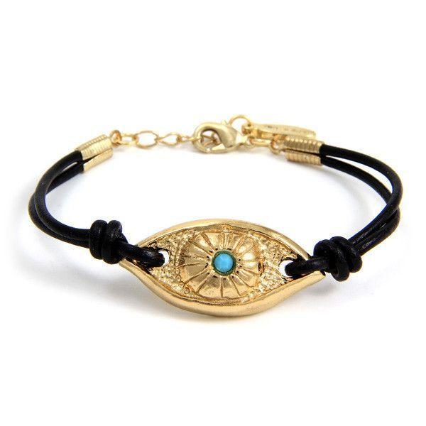 Evil Eye on Black Leather Bracelet