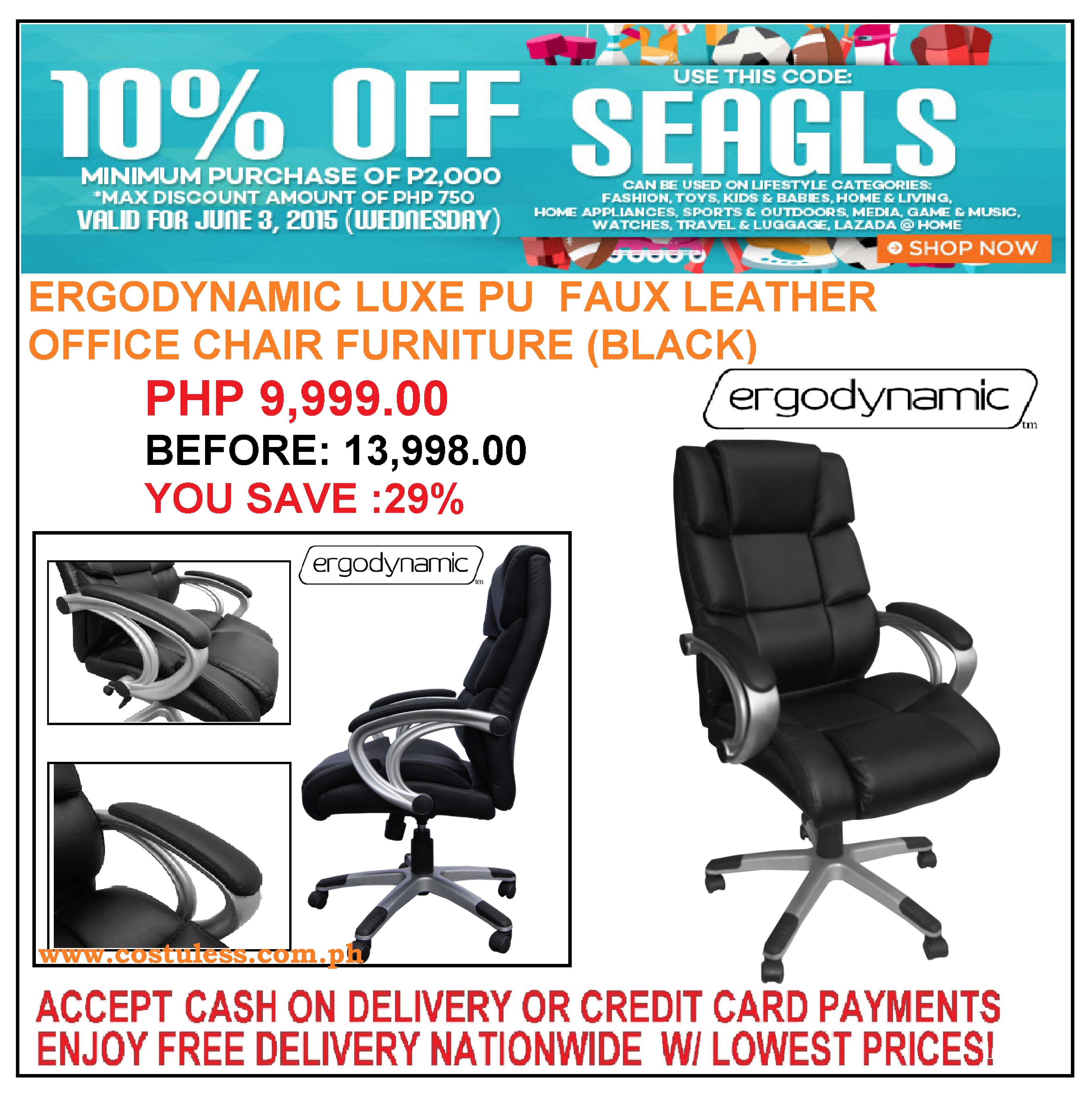 Take 10 Off On Luxe Pu High End Office Chair Use Voucher Code Seagls Visit Http Www Lazada Ph Cost U Less Total Furniture Interior Solutions