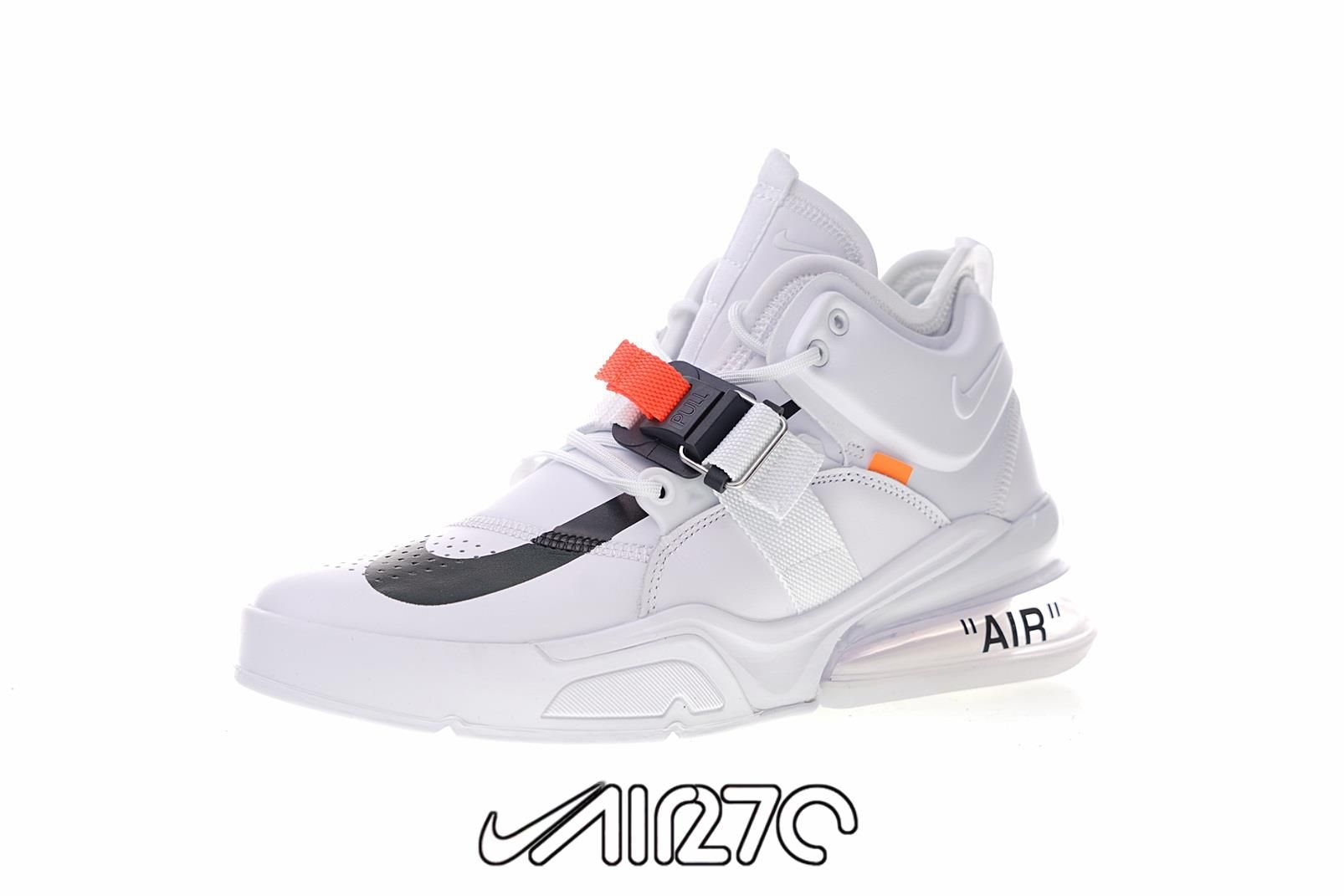 Custom Nike Air Force 270 x Off-White- White Orange-Black White ... dbeb2b873