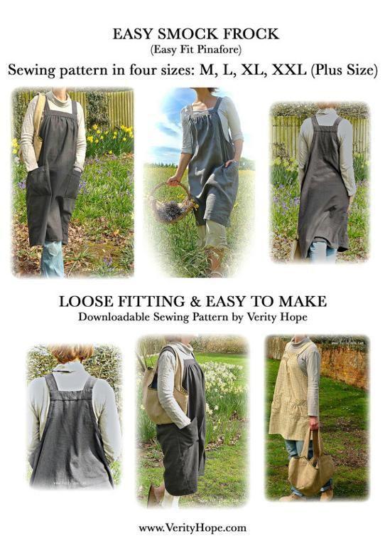 Japanese inspired apron smock dress | Schnittmuster