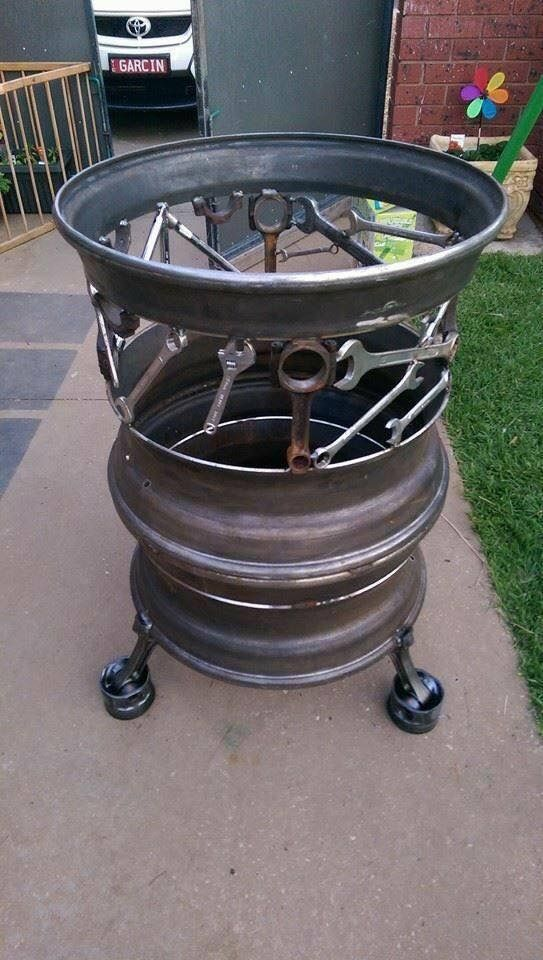 A Most Awesome Firepit From Old Rims And Tools By Pop S Art And Co Metal Fire Pit Diy Fire Pit Fire Pit Designs