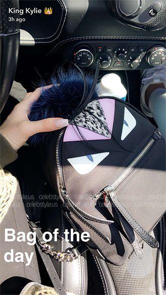 Kylie Jenner showing a Fendi Bag Bugs Nylon And Fur Mini Backpack https    190c123d58e26