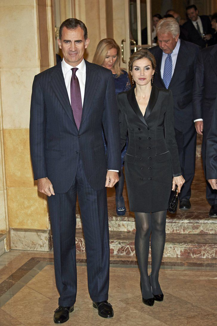 Pin for Later: Queen Letizia Just Came Up With the Smartest Holiday Party Outfit of All  Queen Letizia wore a Felipe Varela black tuxedo jacket with a pair of opaque tights.