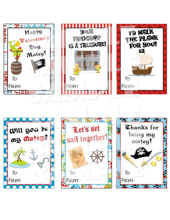 Printable Pirate Valentine Cards  DIY Valentines  Boys