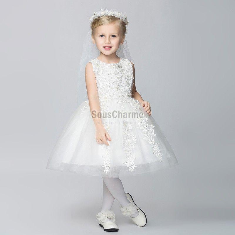 8d6f355189ef9 robe mariage enfant fille princesse pas cher jupe pompon en tulle blanche  agrémenté de broderie scintillante ...