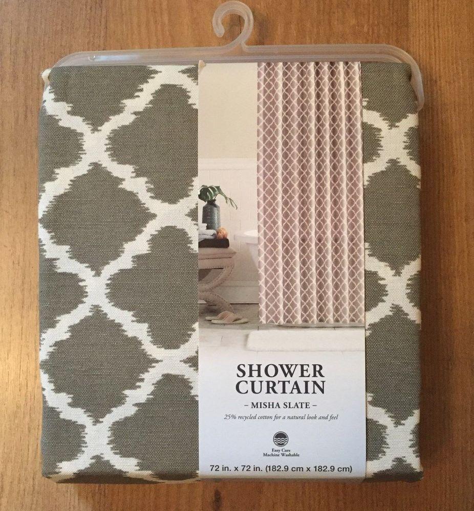 Grayson silver gray jacquard fabric cloth bathroom bath shower curtain - Misha Slate Shower Curtain By Colordrift Geometric Slate Gray White 72x72