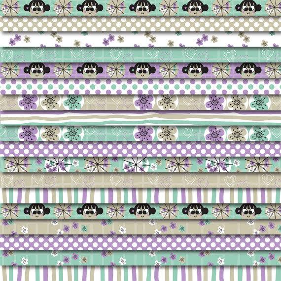 Digital Washi Tape FREE with Scrapbooking Paper Pack Parasols & Kokeshi Dolls by DreamingOnAStar