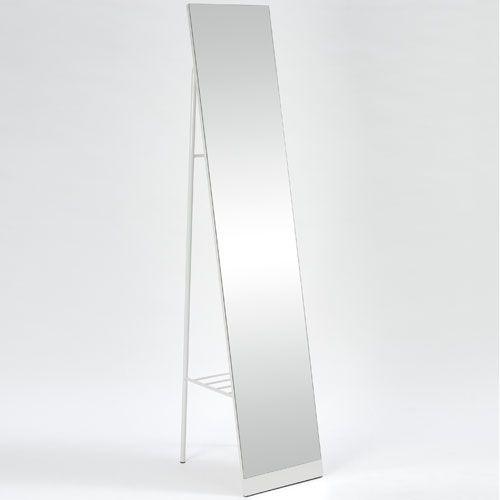 Miroir sur pied psyché en métal blanc avec rangement au dos 149 ...