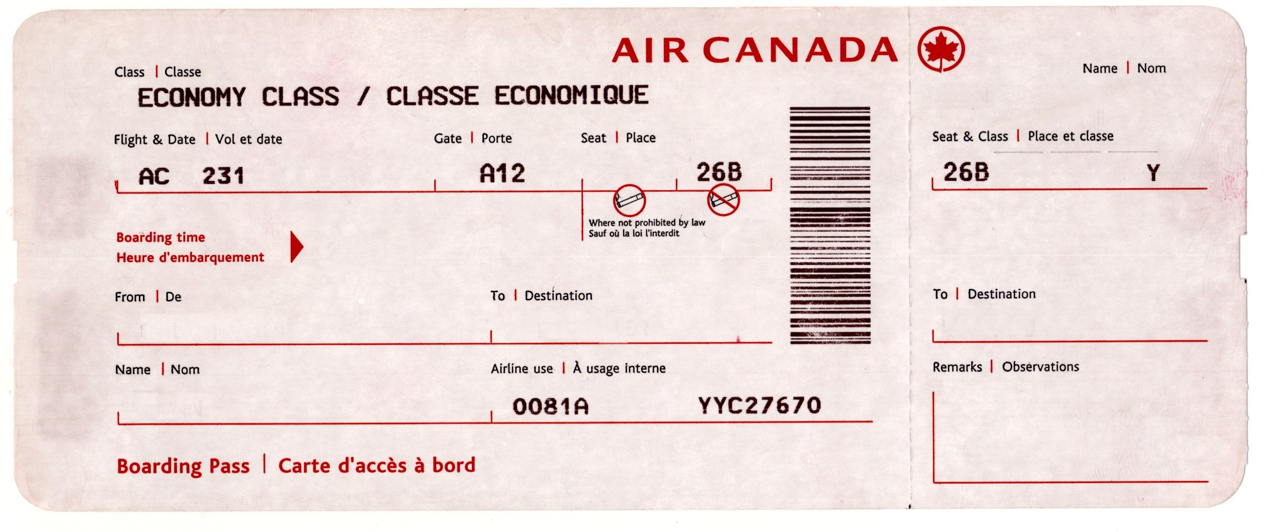 Air canada boarding pass love is in the air pinterest for Fake boarding pass template