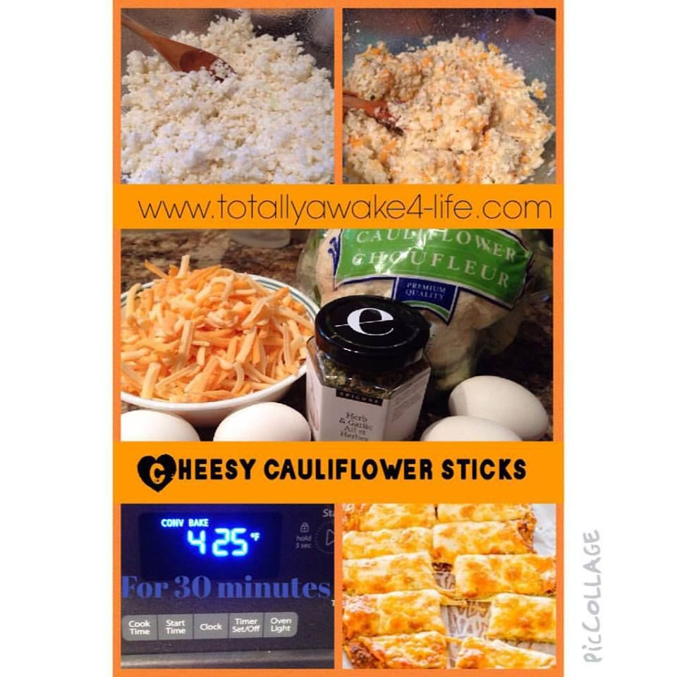 What You Need 1 large head of cauliflower 2 cups of shredded cheese ~ we like a mix of mozzarella and old cheddar 4 large eggs 1 tablespoon Epicure Herb or 2 gloves garlic minced and 2 tsp oregano  What You Do: Wash and chop cauliflower and than place in a blender and pulse until it is a 'rice' consistency Steam in microwave for 8-10 minutes In a bowl beat eggs until well mixed, stir in spices, steamed cauliflower nd cheese and mix wellLine a baking stone or pan with parchment paper and…