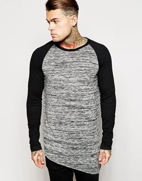 ASOS Super Longline Long Sleeve T-Shirt With Asymmetric Hem In Nepp Fabric