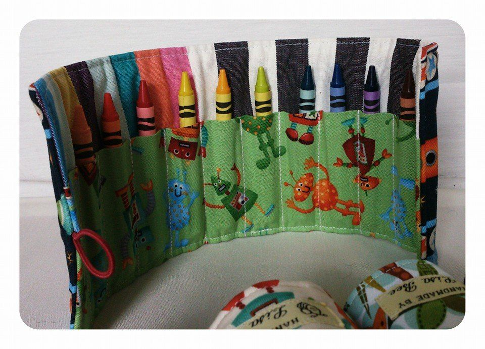 childrens crayon roll made by Lisa Bee