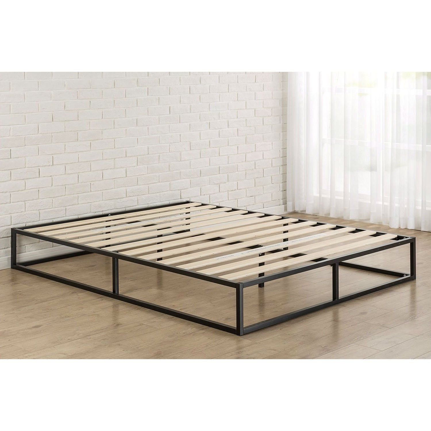Queen Size Modern 10 Inch Low Profile Metal Platform Bed Frame With Wood Slats Metal Platform Bed Low Profile Bed Frame Full Size Bed Frame